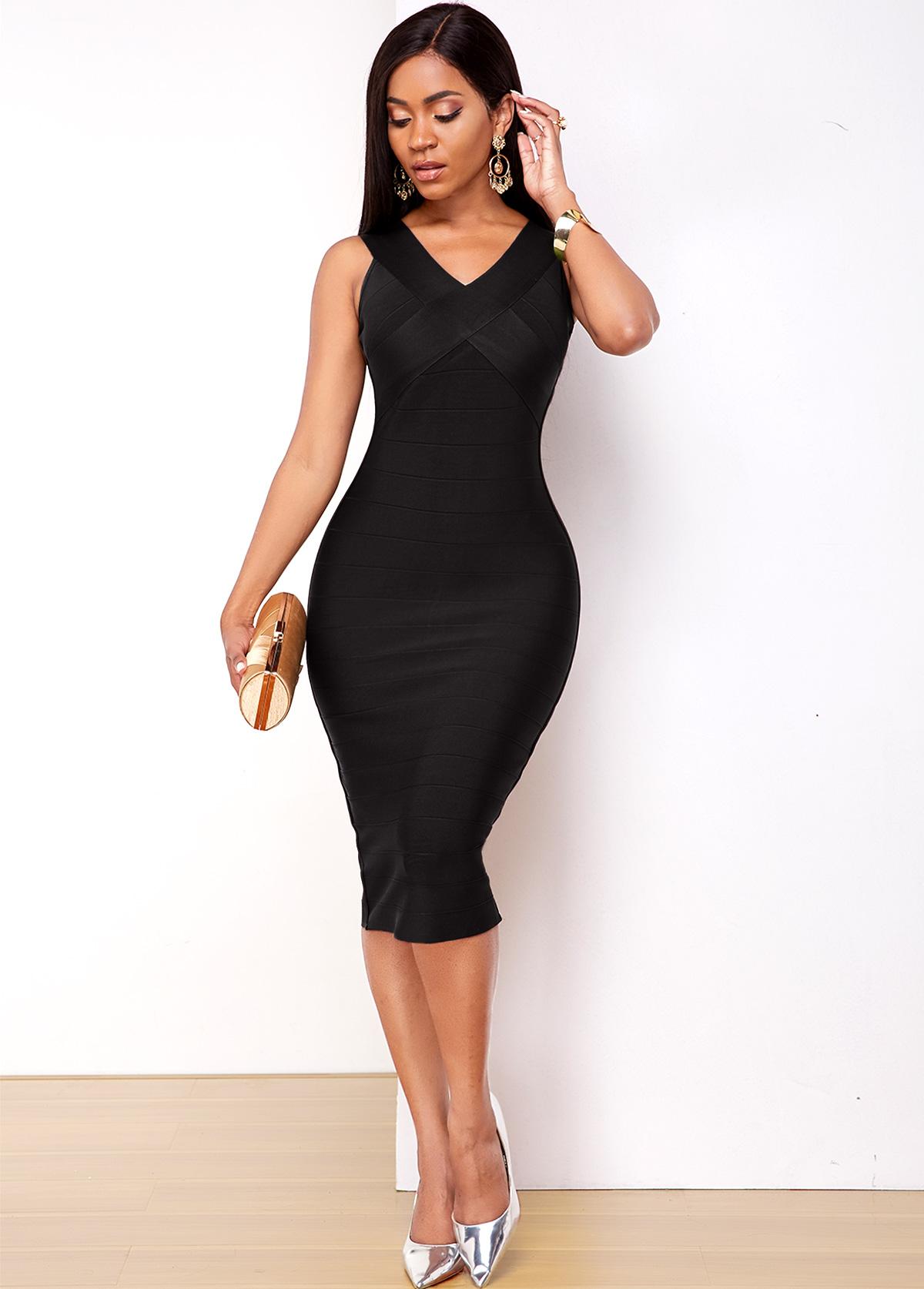 Sleeveless Black V Neck Bodycon Dress