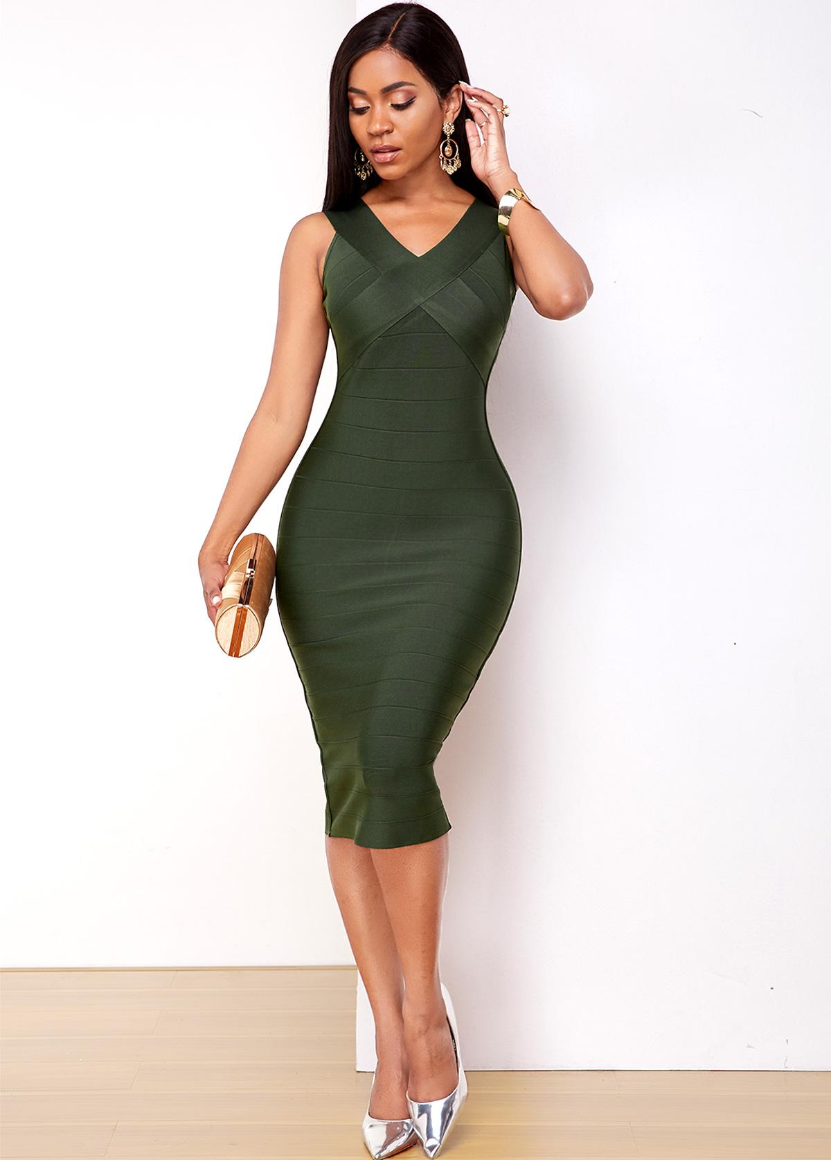 Sleeveless Army Green V Neck Bodycon Dress