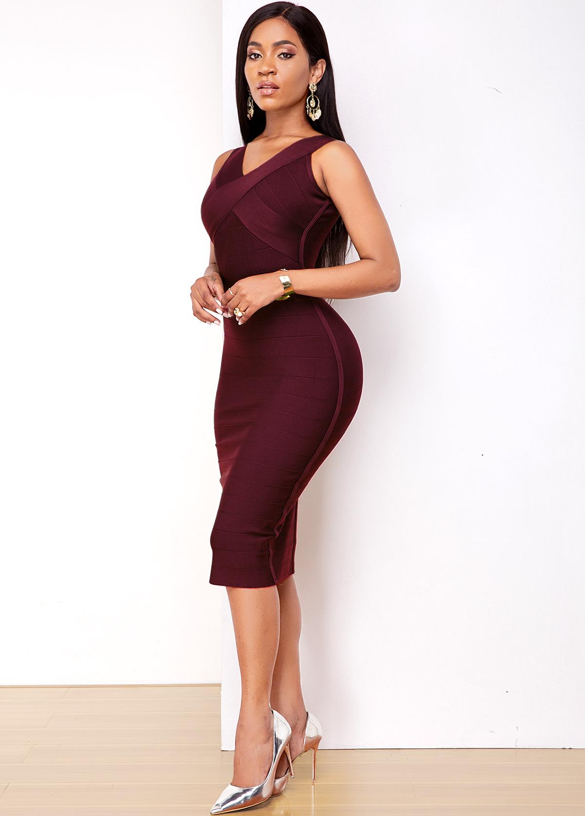 Purple Red Sleeveless V Neck Bodycon Dress