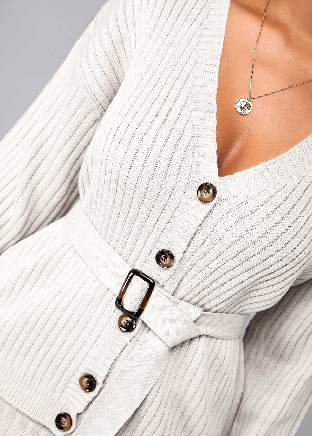 Button Up Long Sleeve Belted Sweater Dress