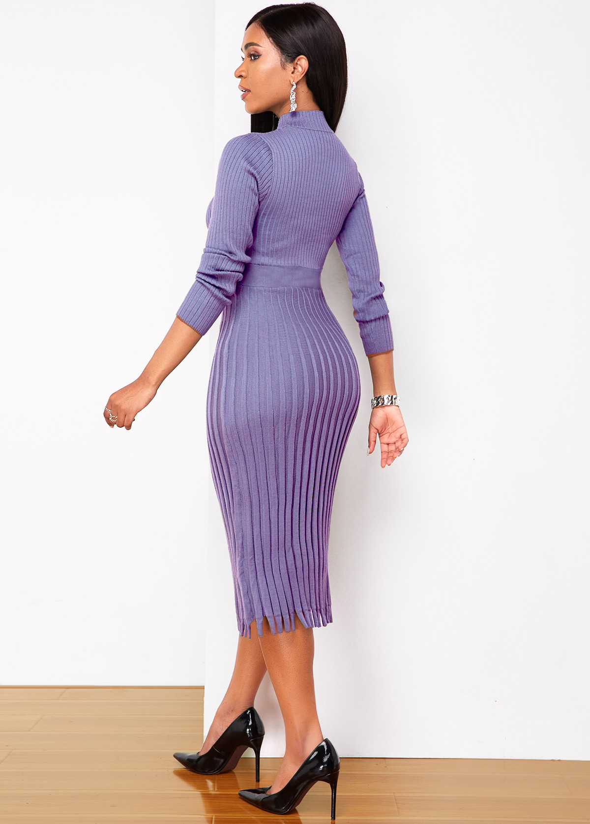 Purple Round Neck Long Sleeve Sweater Dress