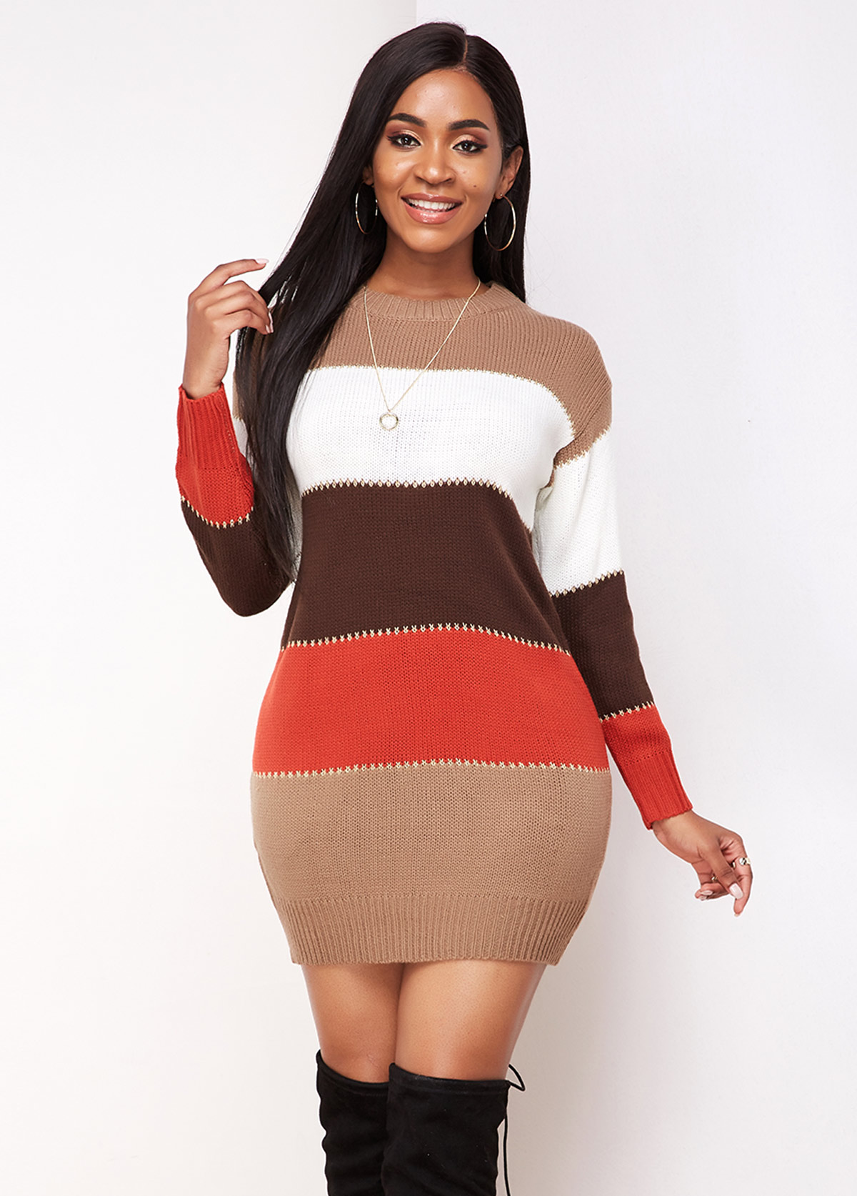 Contrast Long Sleeve Round Neck Sweater Dress