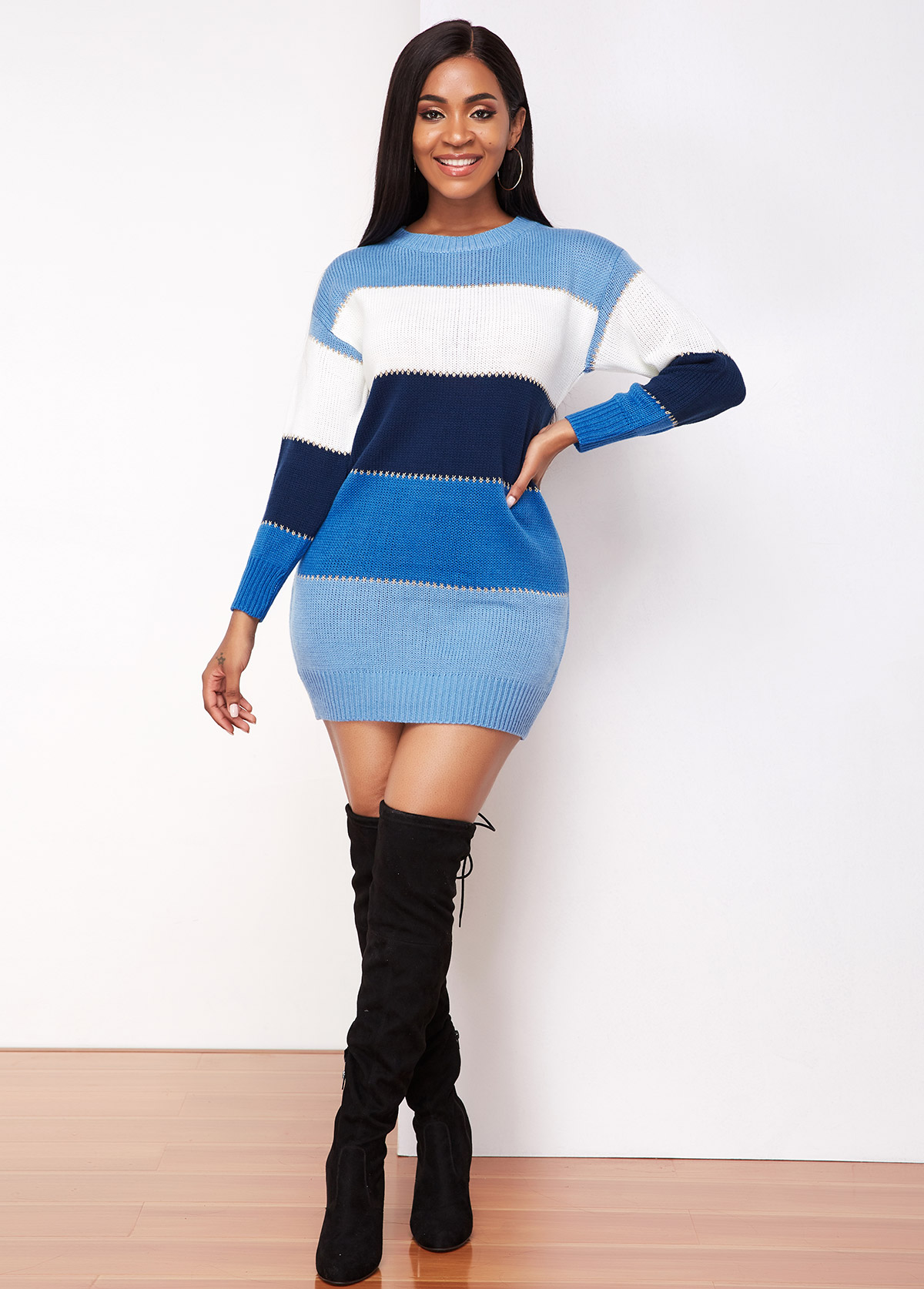 Round Neck Long Sleeve Contrast Sweater Dress