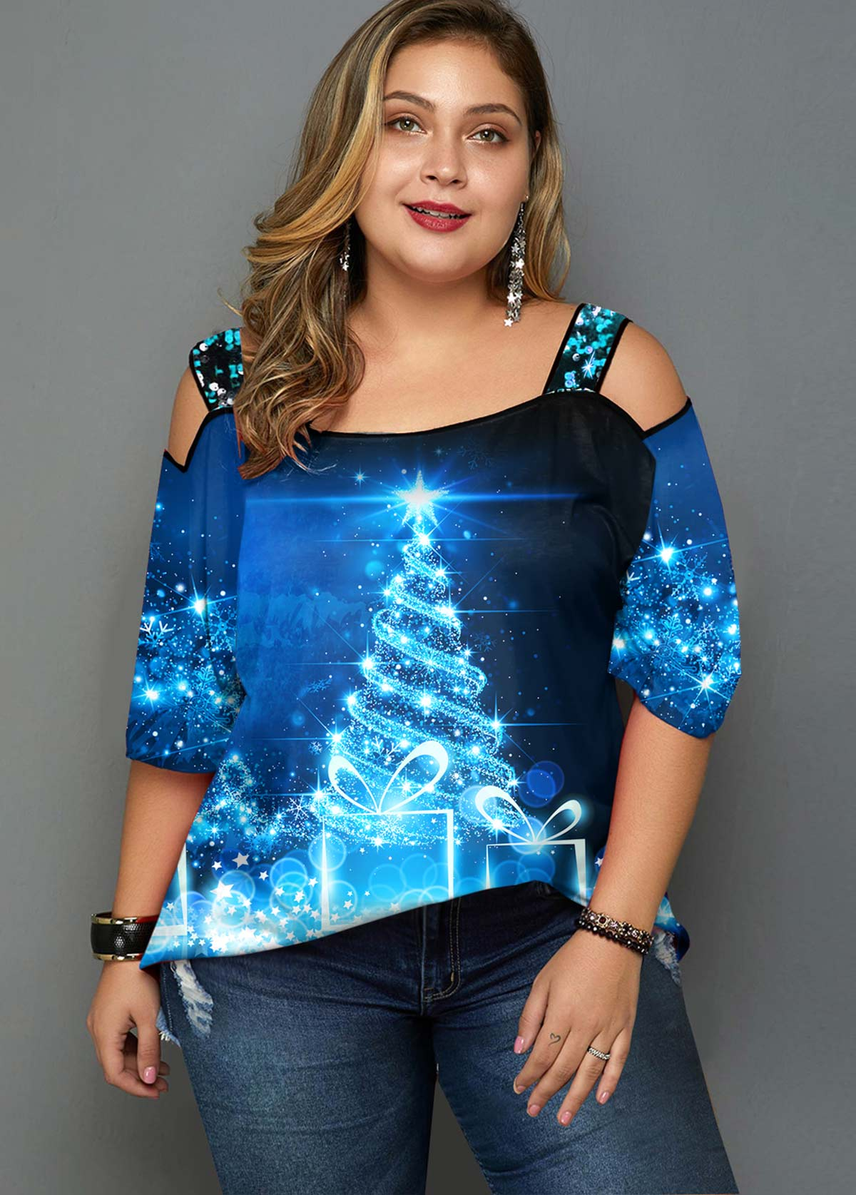 Christmas Tree Print Cold Shoulder Plus Size T Shirt