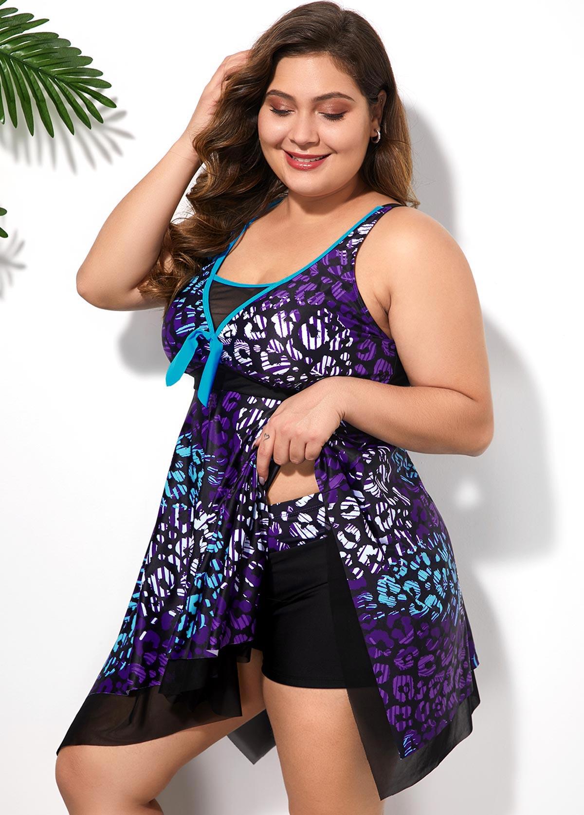 Asymmetric Hem Plus Size Printed Swimdress and Shorts