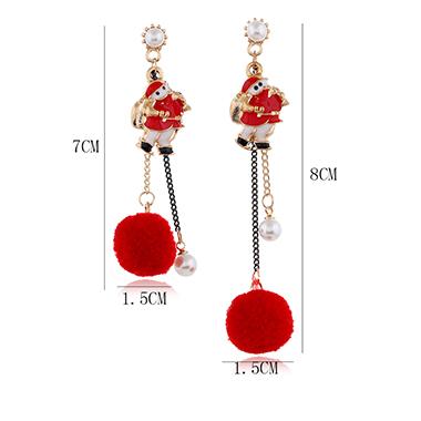 Pearl Detail Red Santa Claus Earring Set