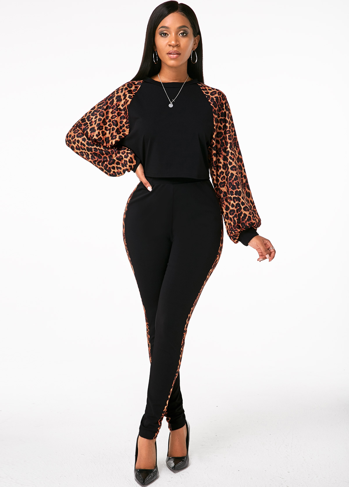 Round Neck Leopard Long Sleeve Top and Pants
