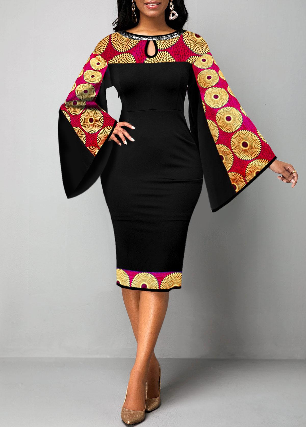 Keyhole Neckline Tribal Print Flare Sleeve Dress