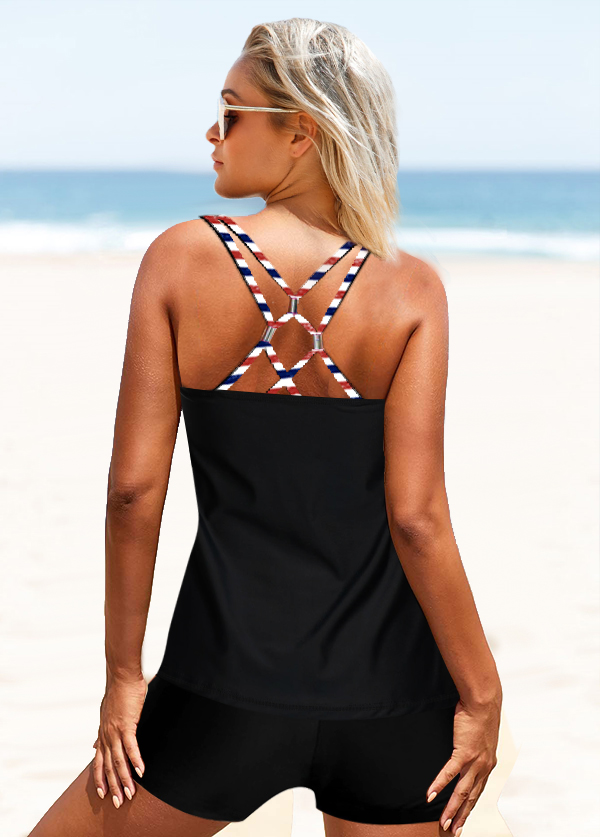 Cross Strap American Flag Print Tankini Set