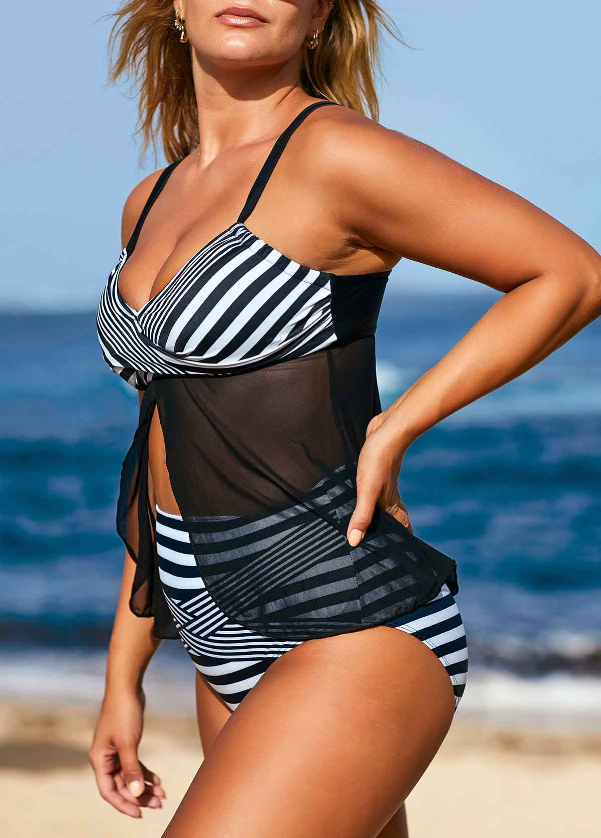 High Waist Striped Tulip Hem Tankini Set