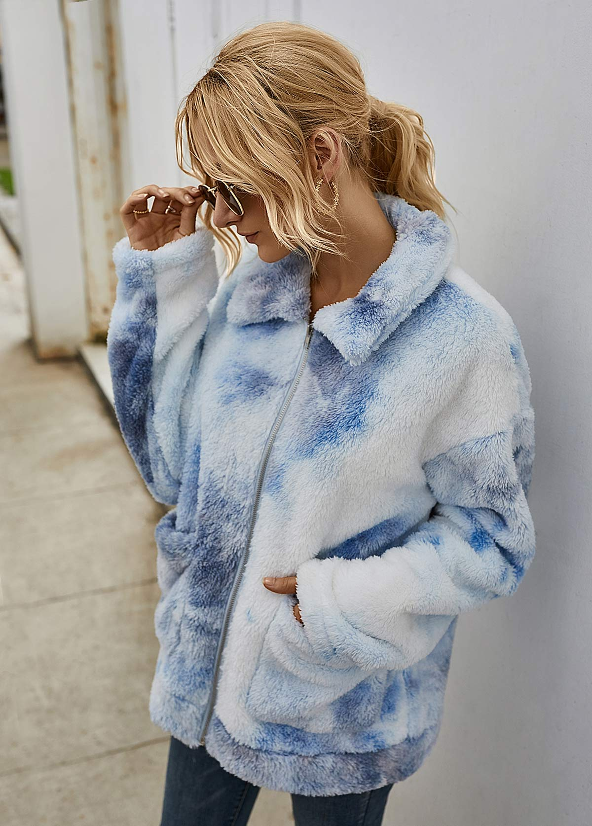 Turndown Collar Pocket Tie Dye Fluffy Jacket