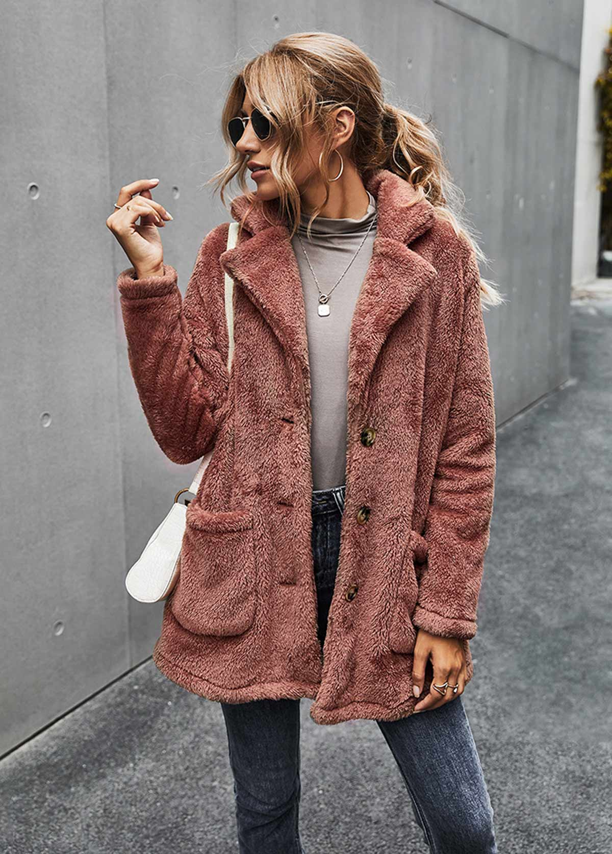 Pocket Turndown Collar Button Up Fluffy Coat