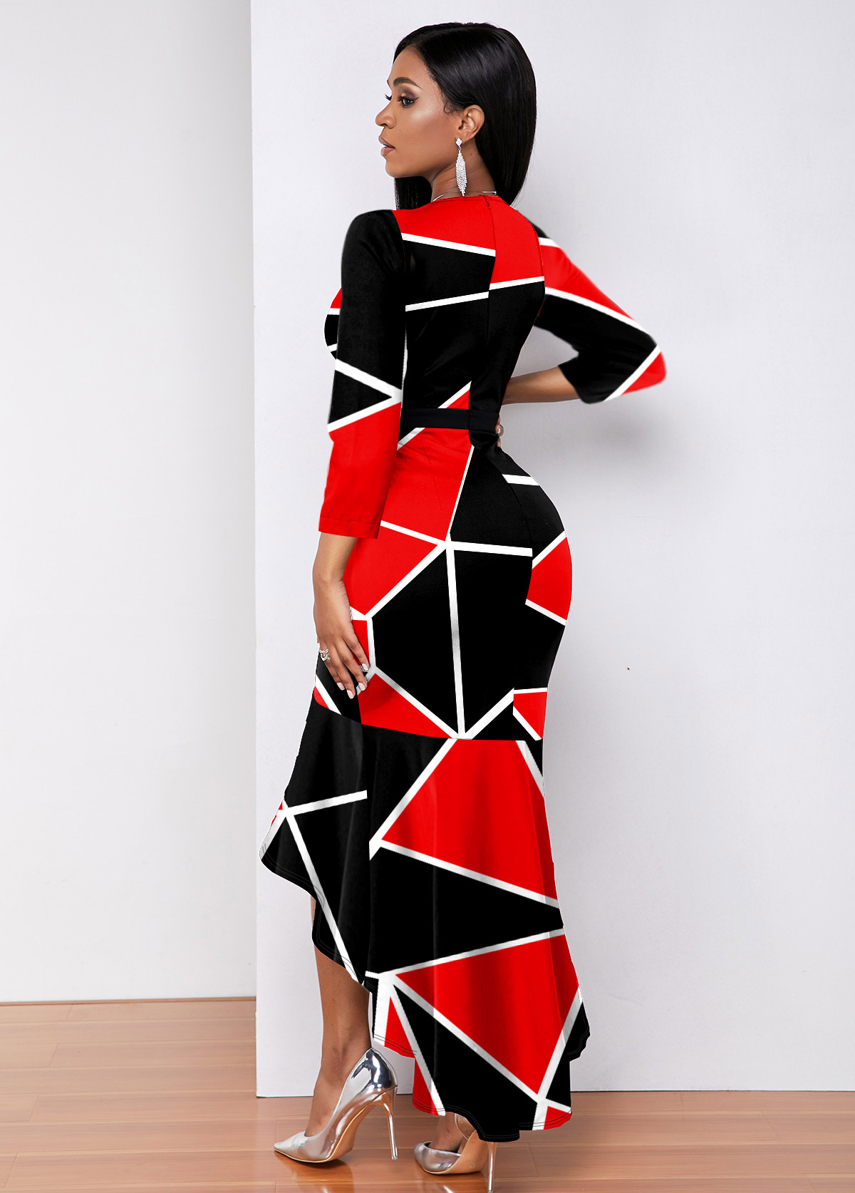 Plunging Neck Color Block High Low Dress