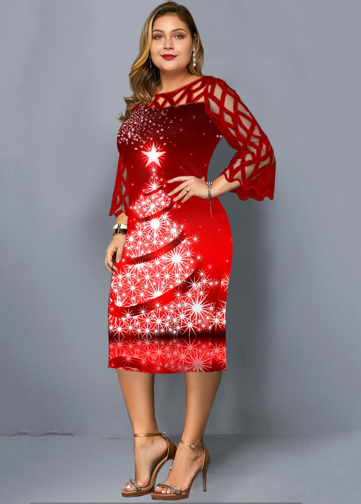 Lace Panel Christmas Print Plus Size Dress
