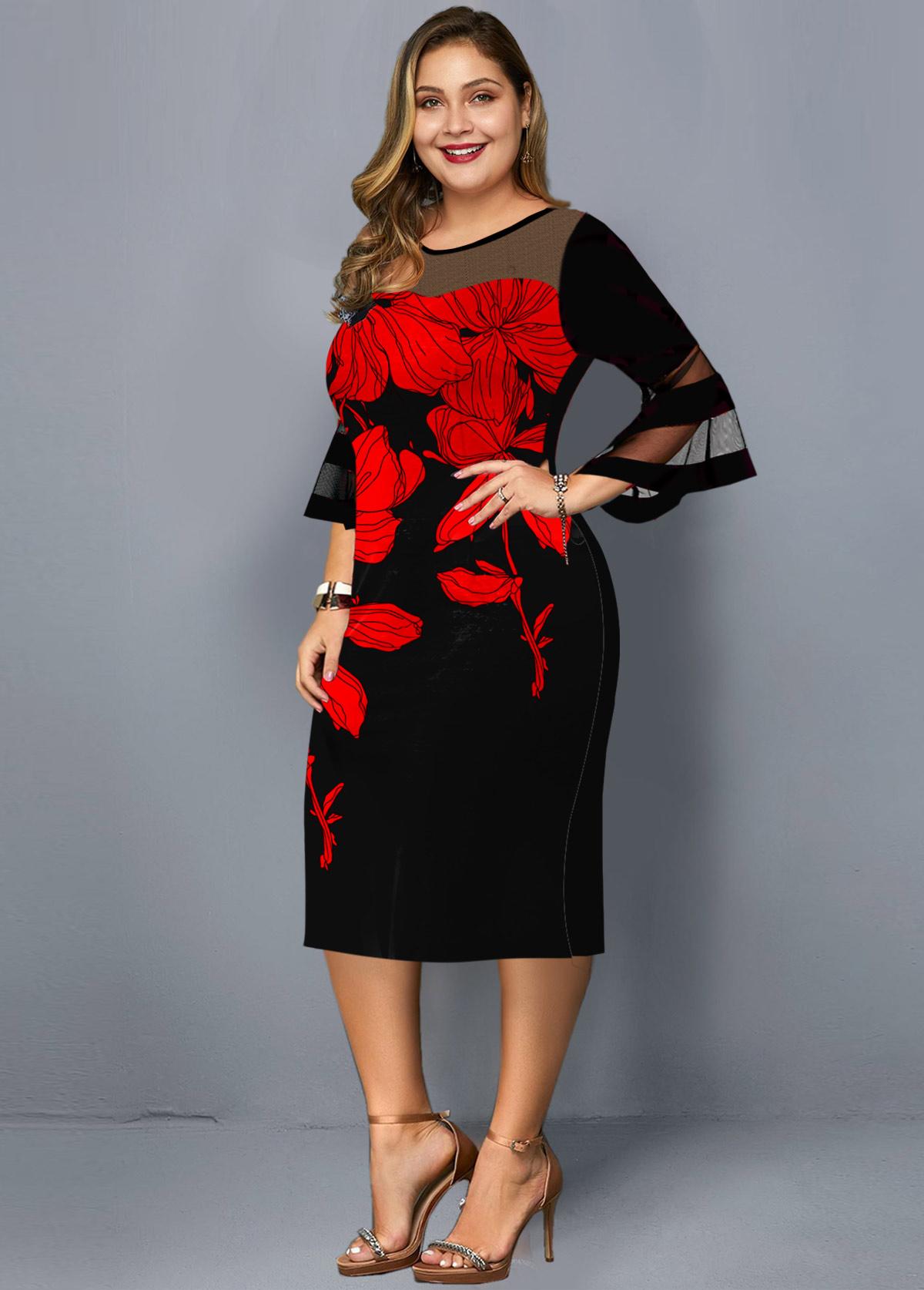 Mesh Panel Floral Print Plus Size Dress