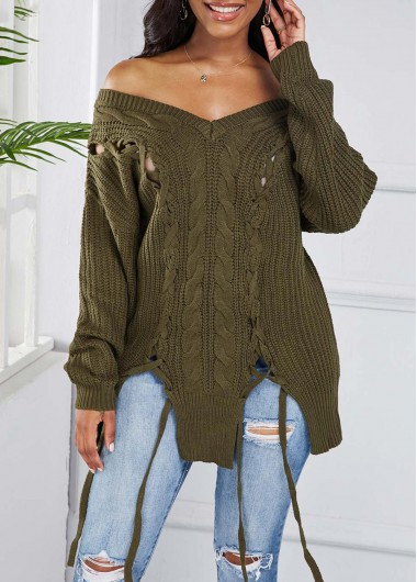 Asymmetric Hem Lace Up Off Shoulder Sweater