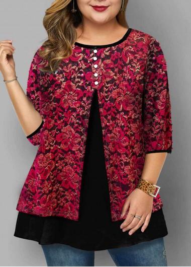 Lace Panel Round Neck Plus Size T Shirt