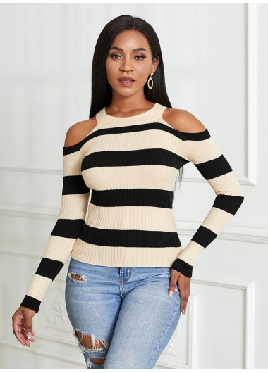 Cold Shoulder Striped Long Sleeve Sweater