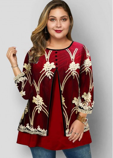 Embroidered Lace Panel Plus Size T Shirt