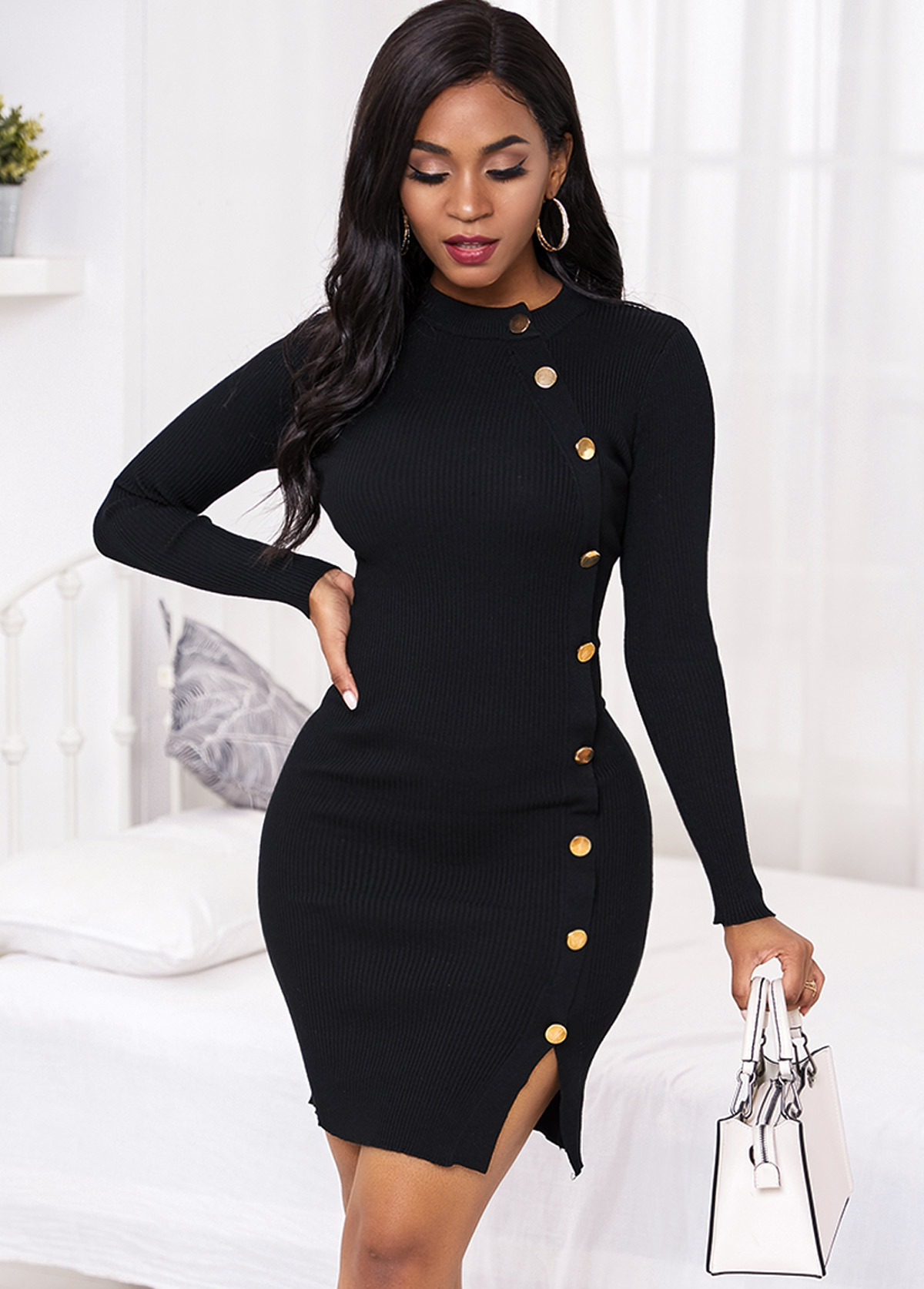 Black Inclined Button Long Sleeve Sweater Dress