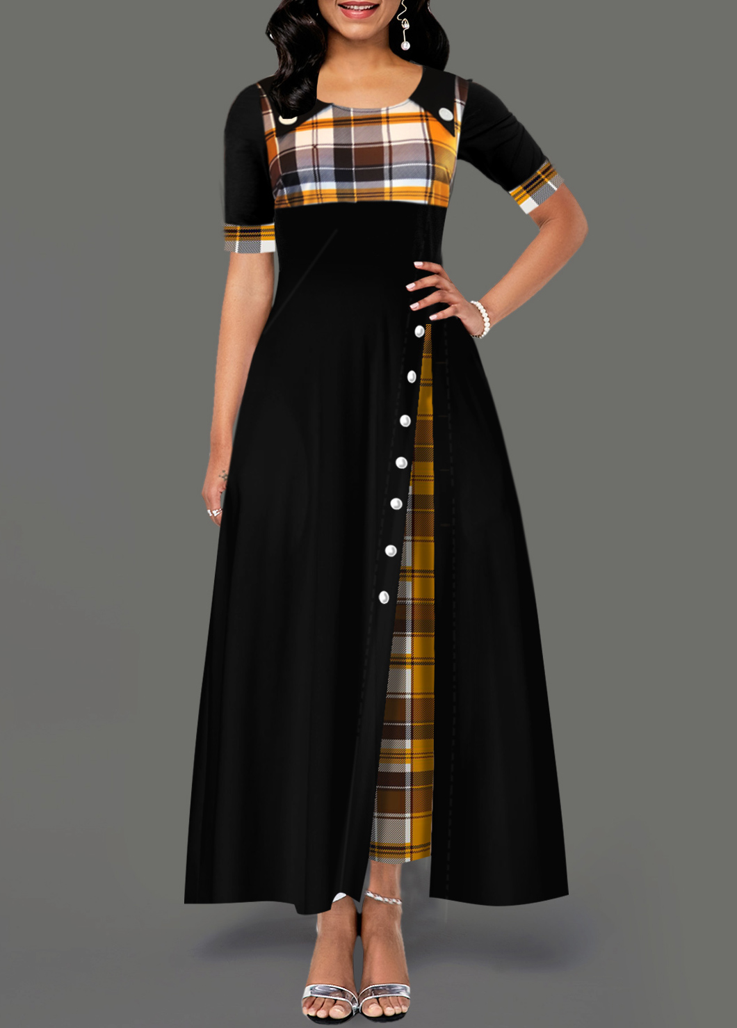 Pocket Plaid Print Inclined Button Dress