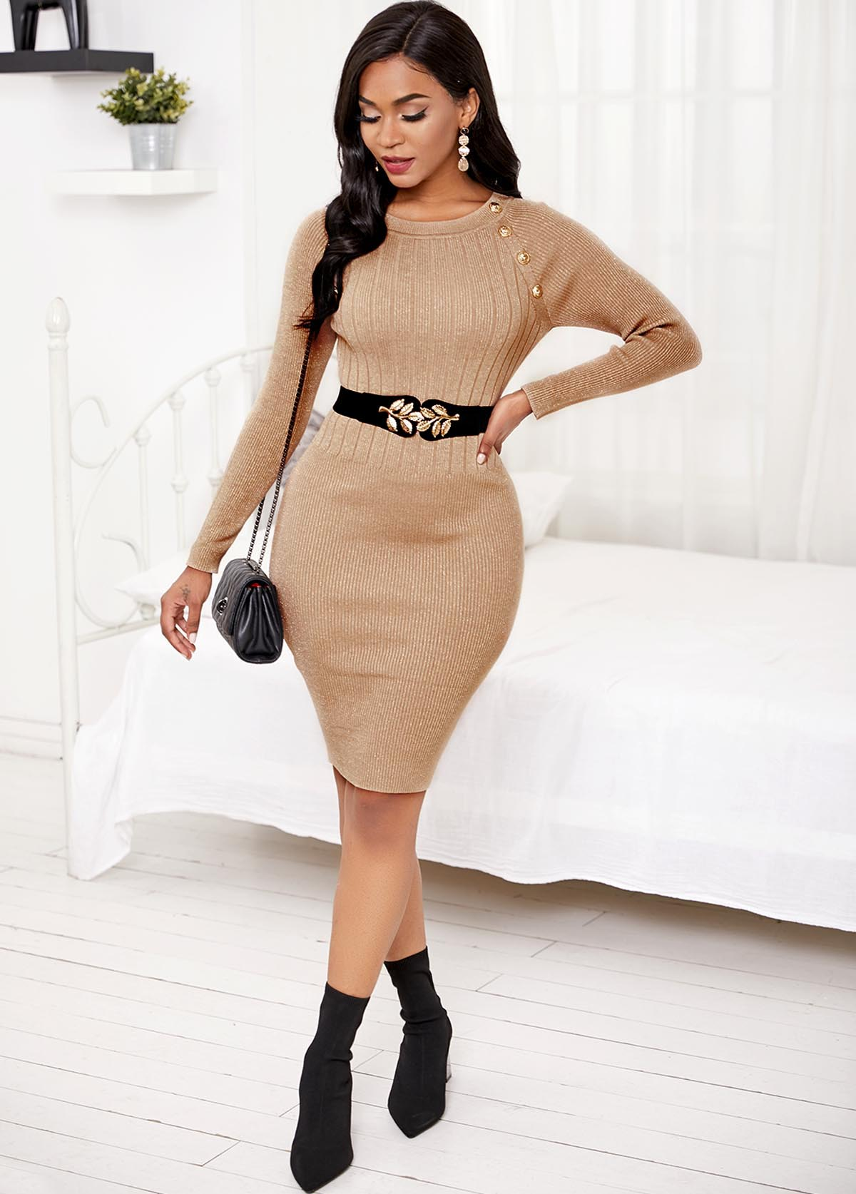 Long Sleeve Contrast Decorative Button Sweater Dress