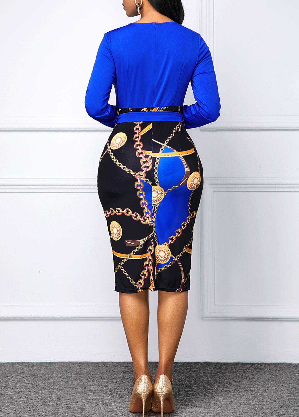 Belted Chain Print Round Neck Dress