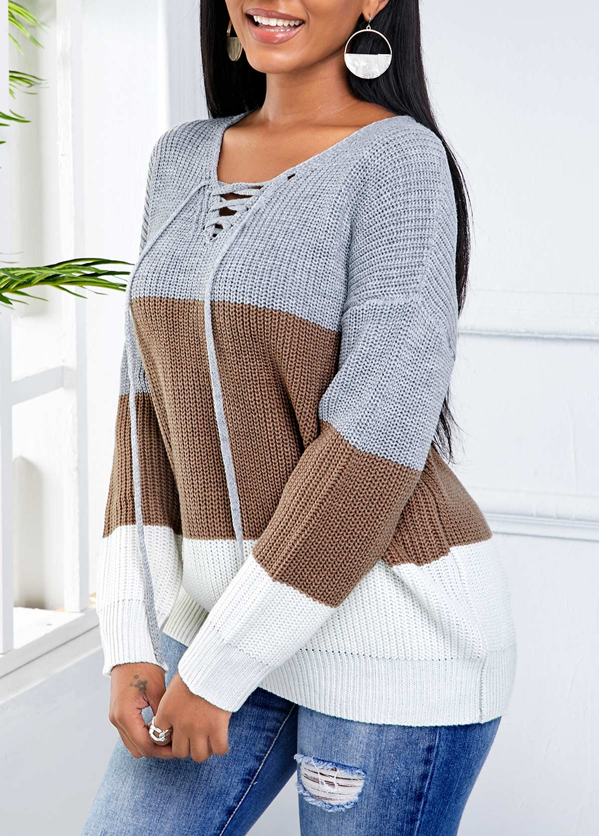 Long Sleeve Lace Up Contrast Sweater