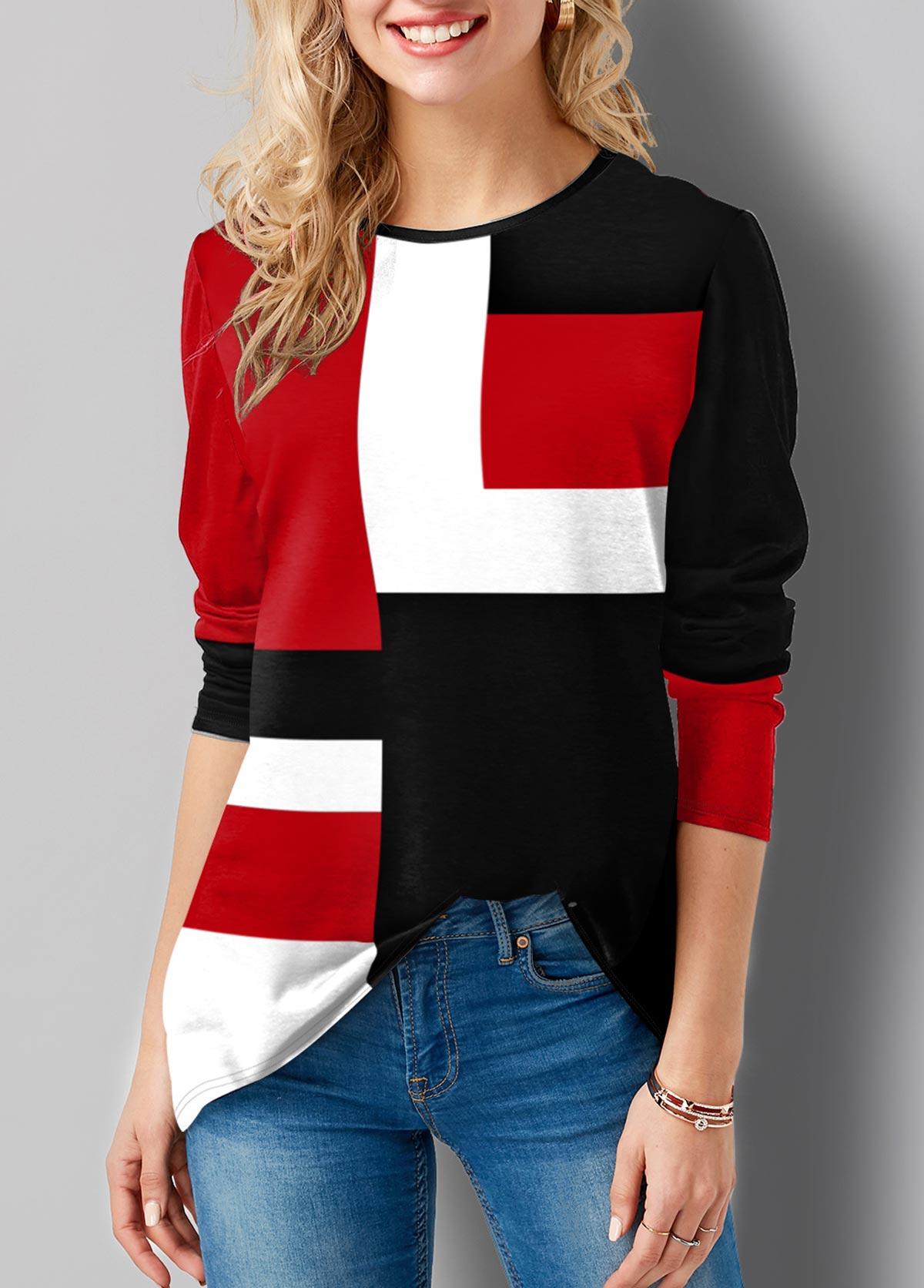Long Sleeve Geometric Print Round Neck T Shirt