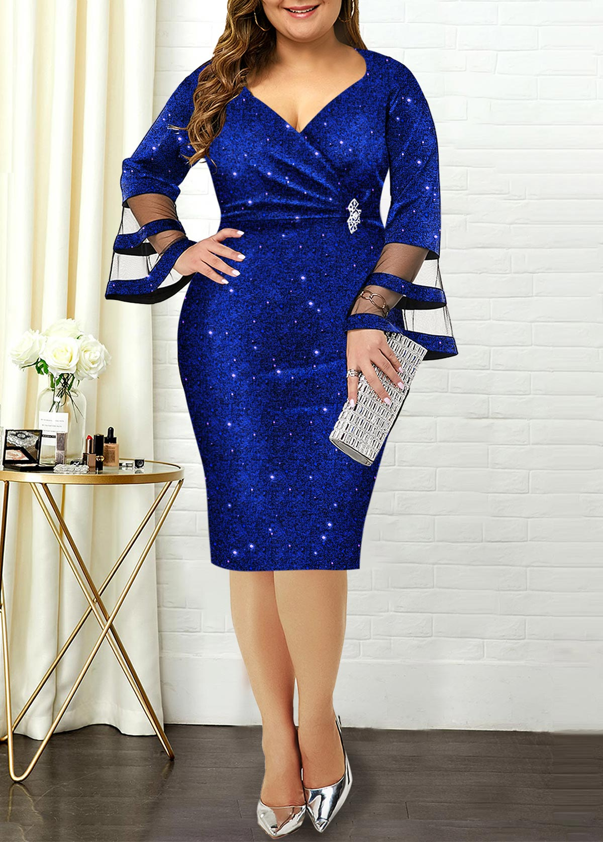 Flare Sleeve Hot Stamping Plus Size Dress