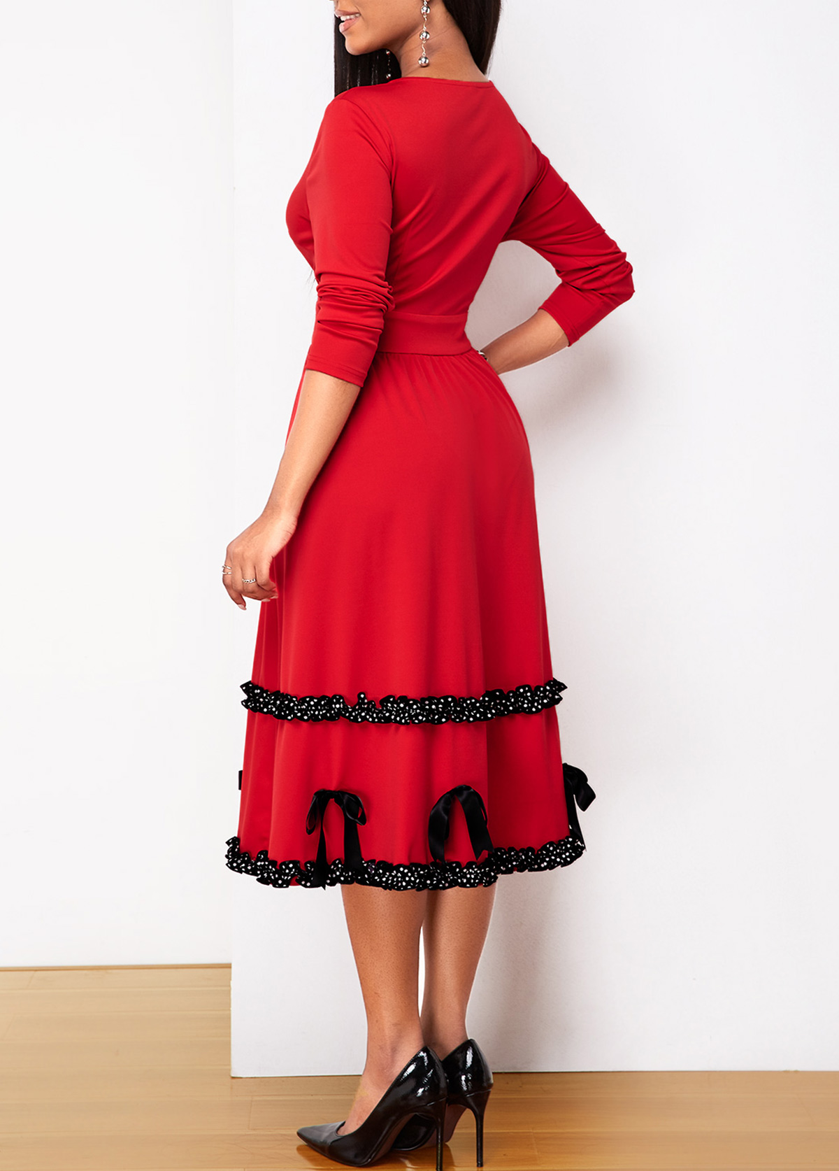 Contrast Piping Button Up Bowknot Detail Dress