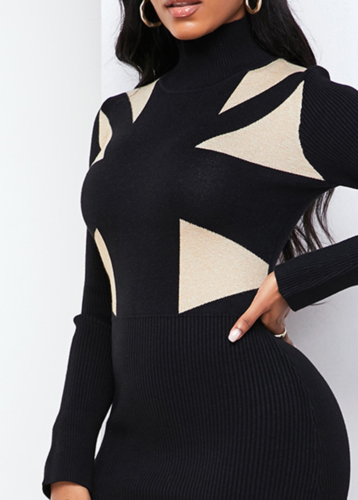 Long Sleeve Geometric Pattern Mermaid Hem Sweater Dress