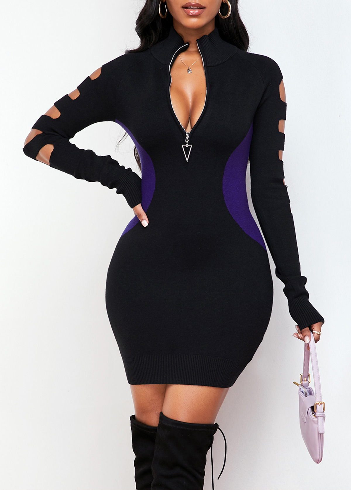 Contrast Long Sleeve Quarter Zip Sweater Dress