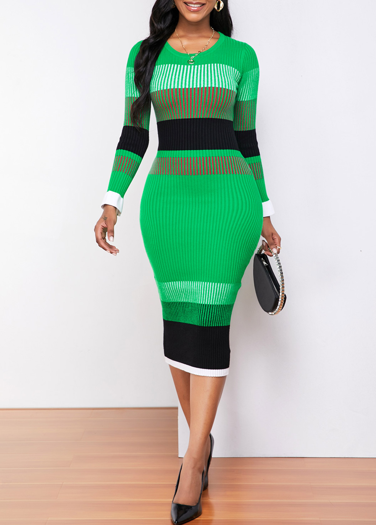 Long Sleeve Color Striped Round Neck Sweater Dress