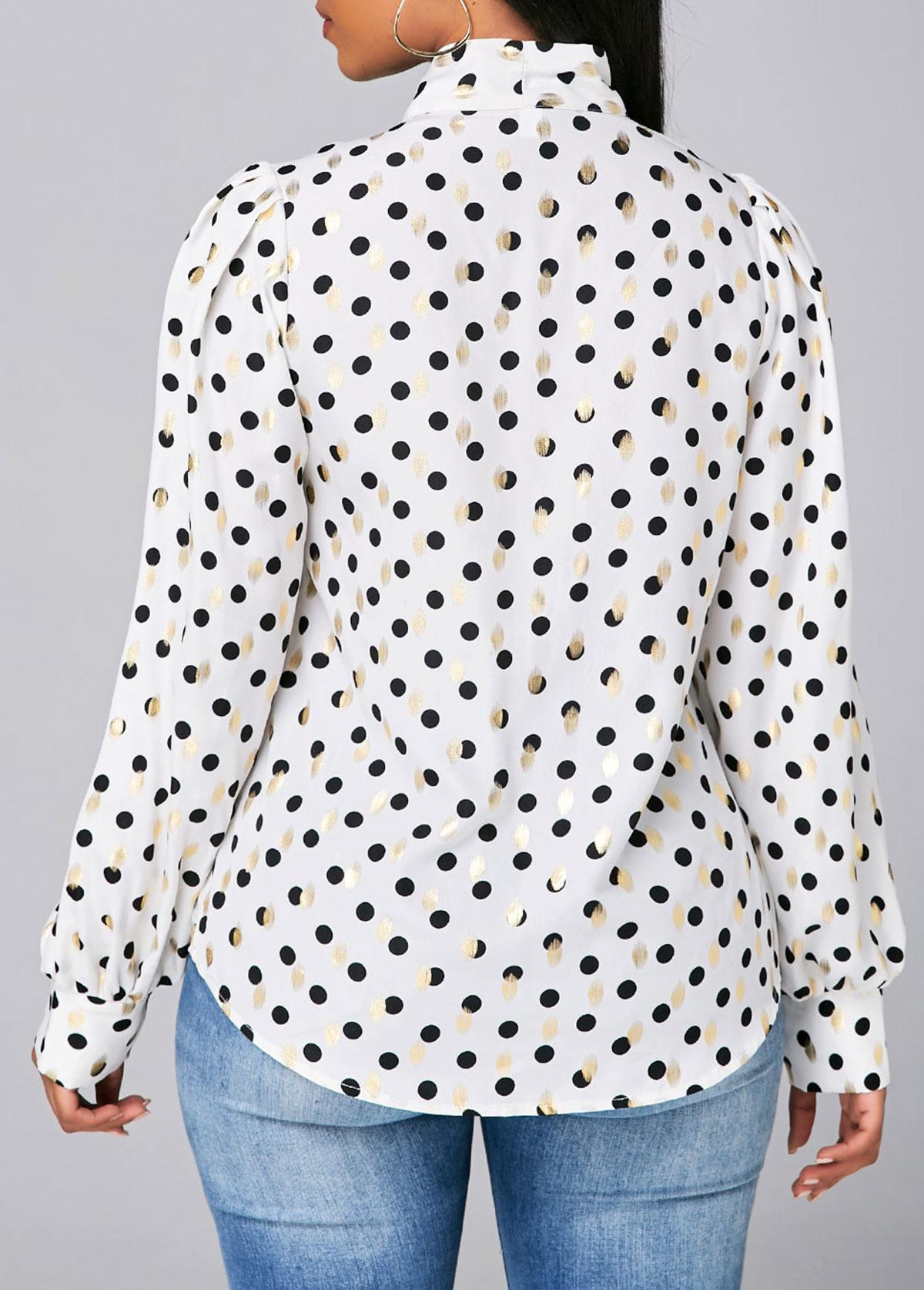 Lantern Sleeve Bowknot Detail Dot Print Blouse