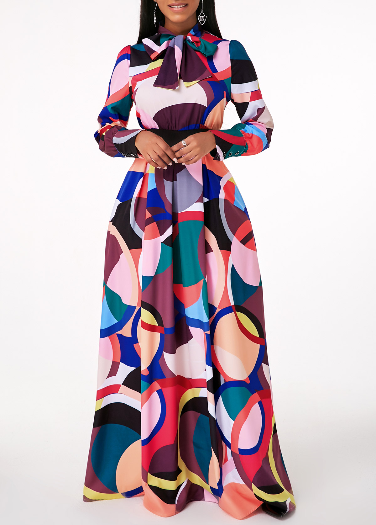 Printed Bow Collar Long Sleeve Maxi Dress
