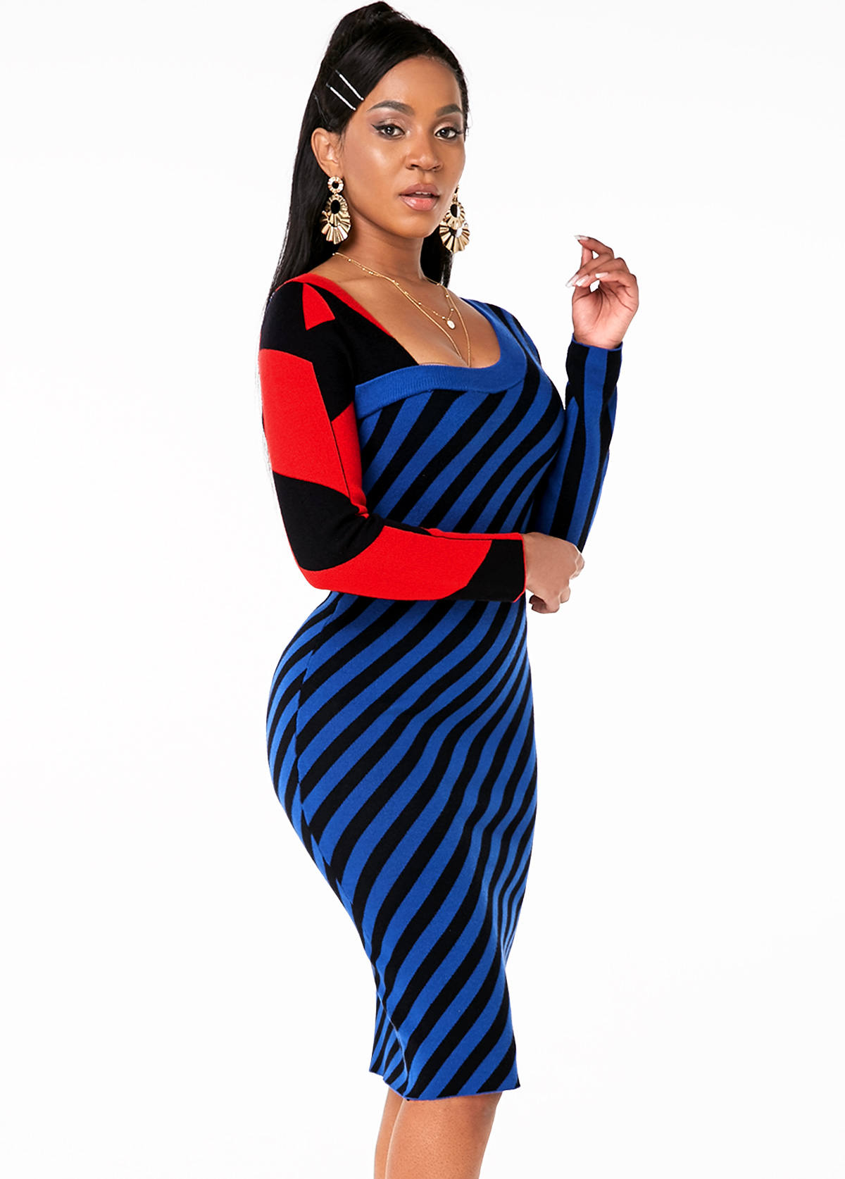 Asymmetric Neck Long Sleeve Striped Sweater Dress