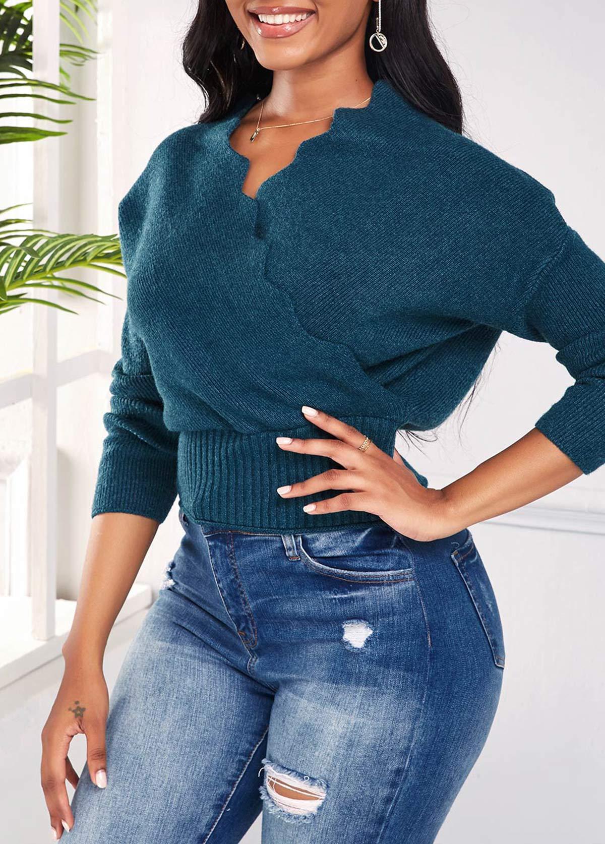 V Neck Long Sleeve Scalloped Hem Sweater