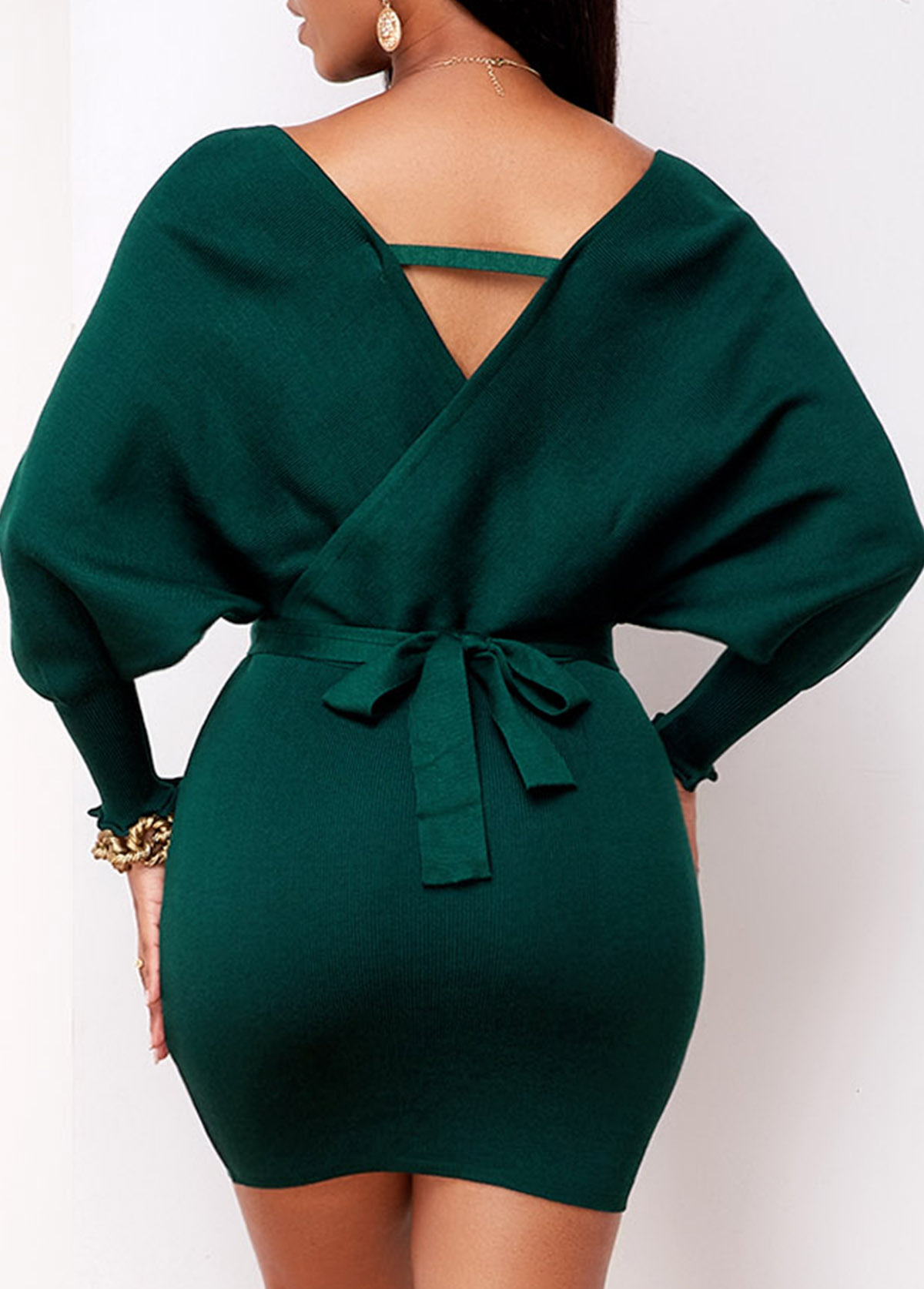 Knitted Belted Plunging Neck Wrap Dress