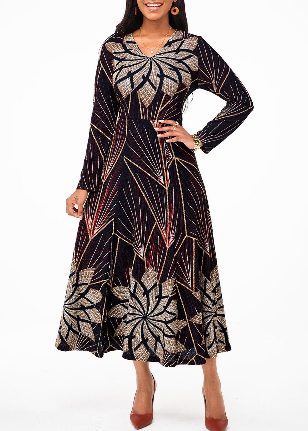 V Neck Tribal Print Long Sleeve Dress