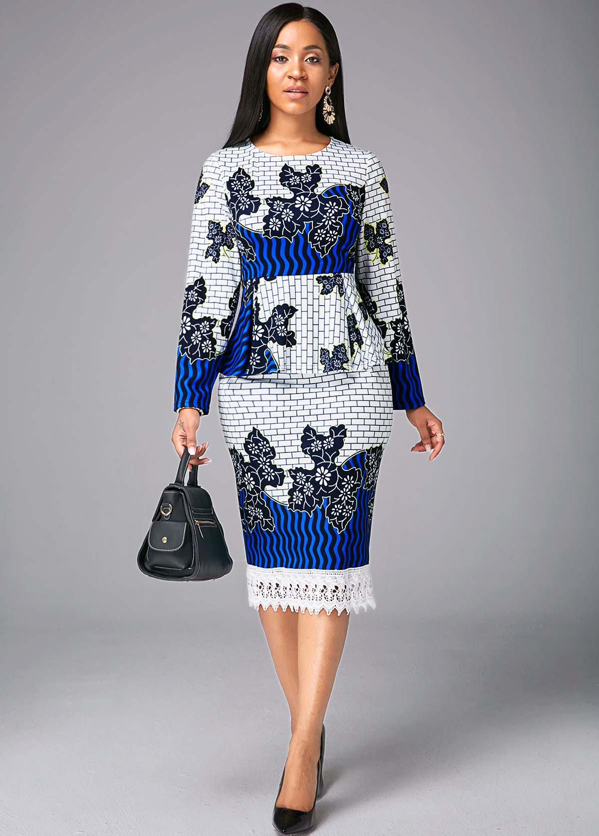 Flounce Tribal Print Long Sleeve Dress