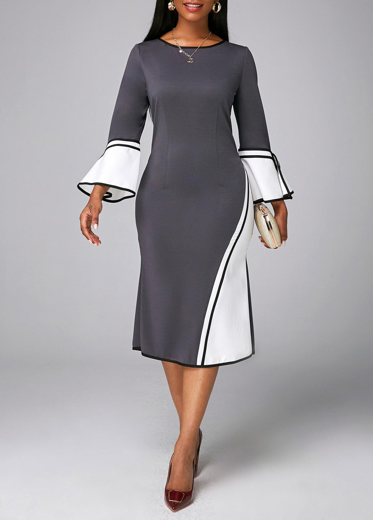 Contrast Flare Sleeve Round Neck Dress