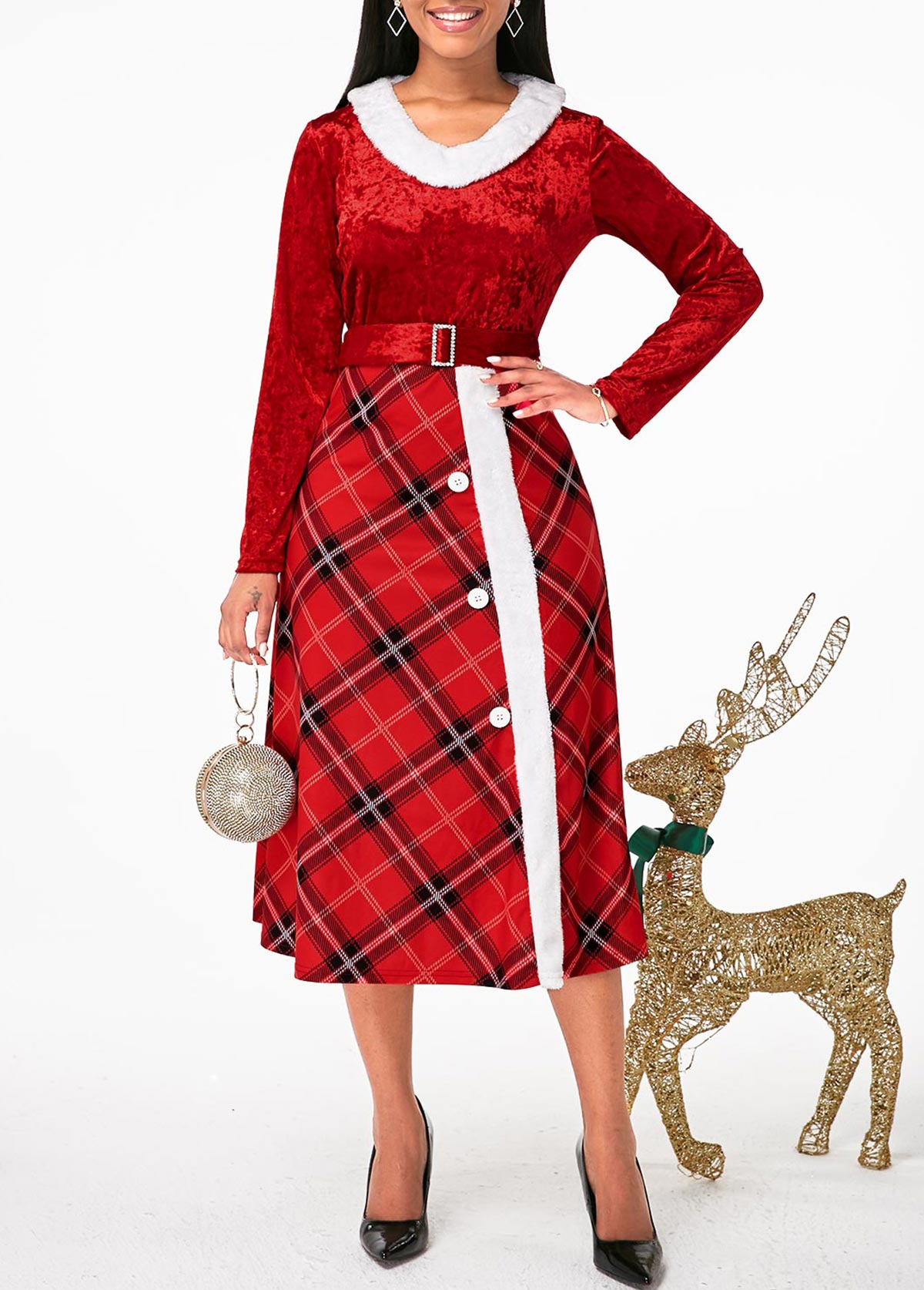 Faux Fur Collar Plaid Print Buckle Belted Dress