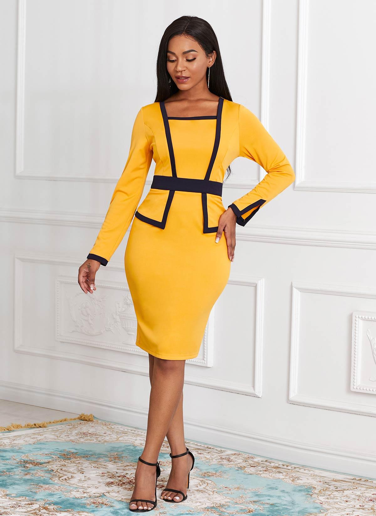 Long Sleeve Contrast Faux Two Piece Dress