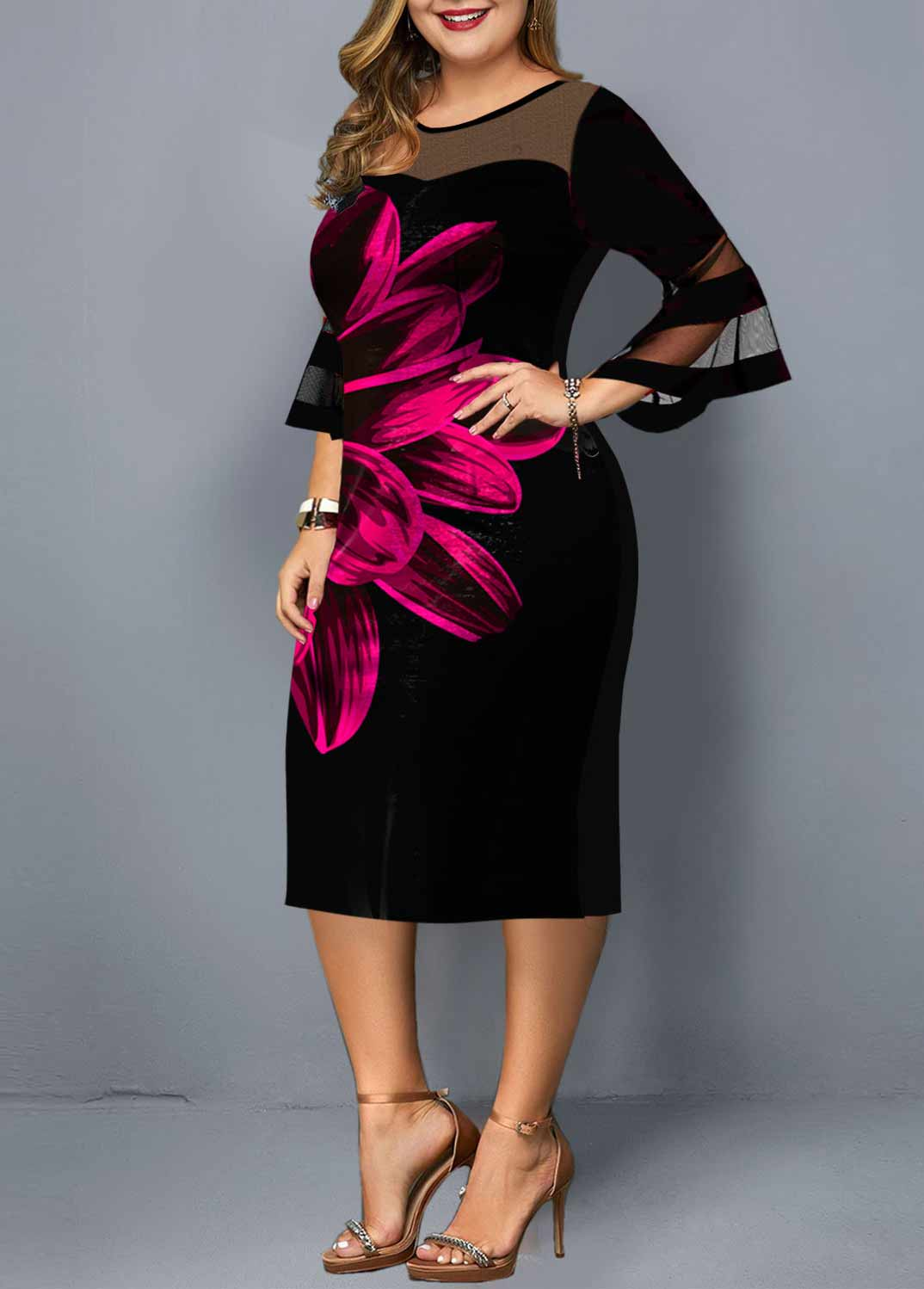 Flare Sleeve Floral Print Plus Size Dress
