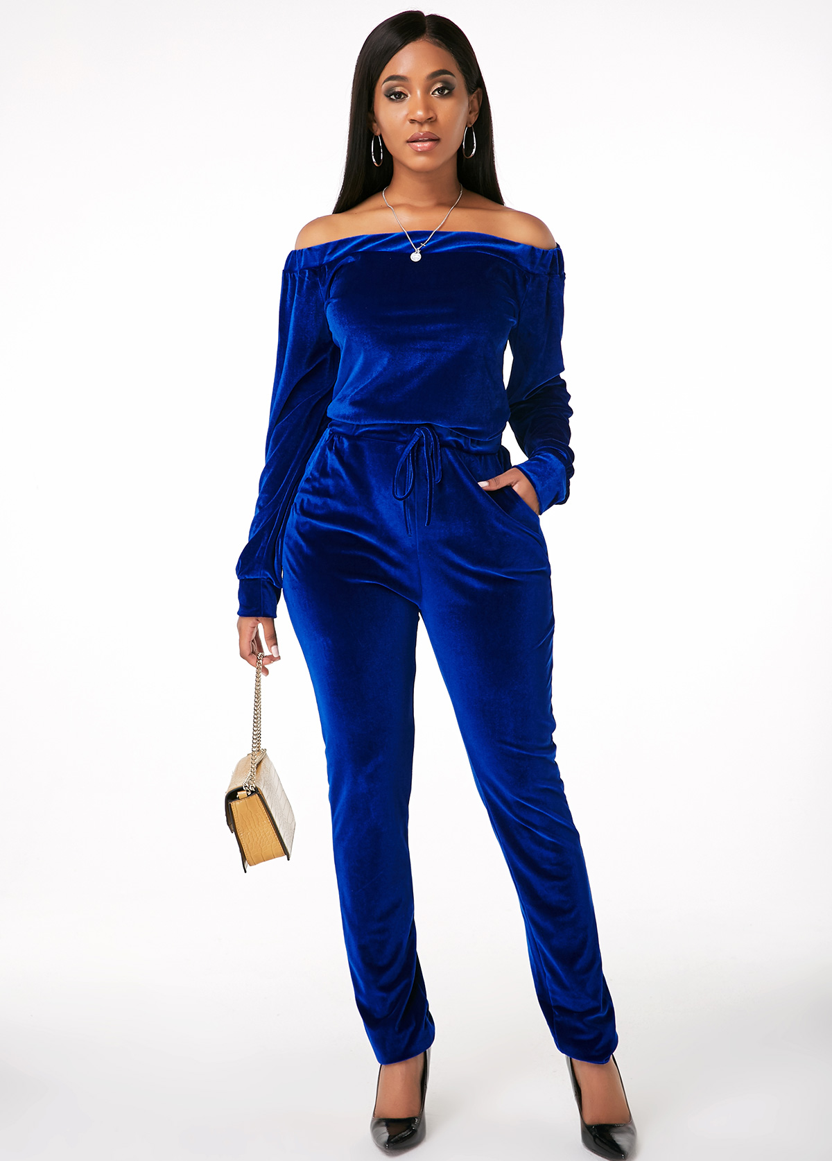 Off Shoulder Top and Long Sleeve Drawstring Waist Pants