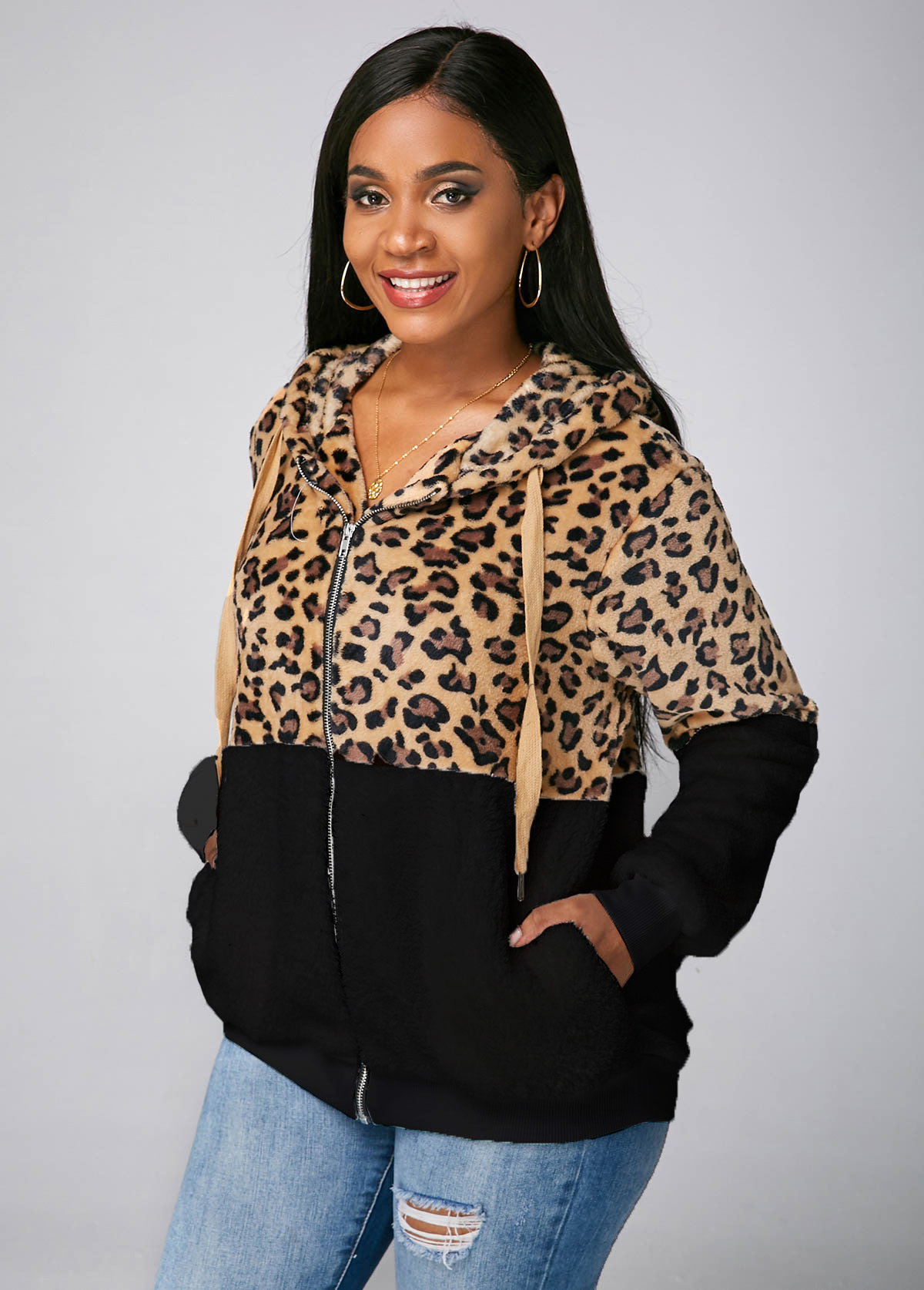 Leopard Zipper Closure Hooded Collar Pocket Jacket