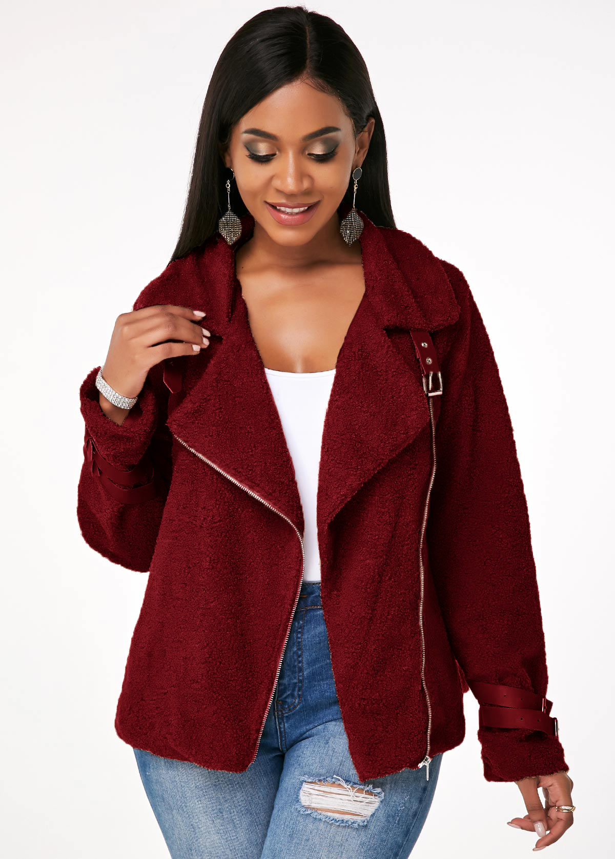 Plush Inclined Zipper Leather Buckle Jacket
