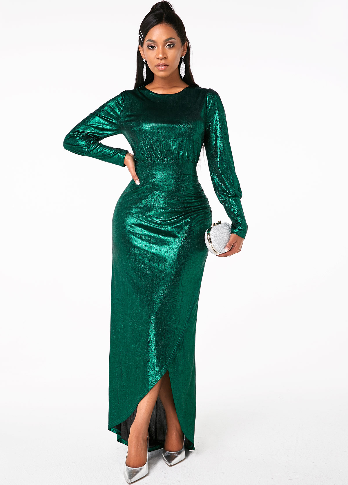 Side Slit Long Sleeve Round Neck Maxi Dress