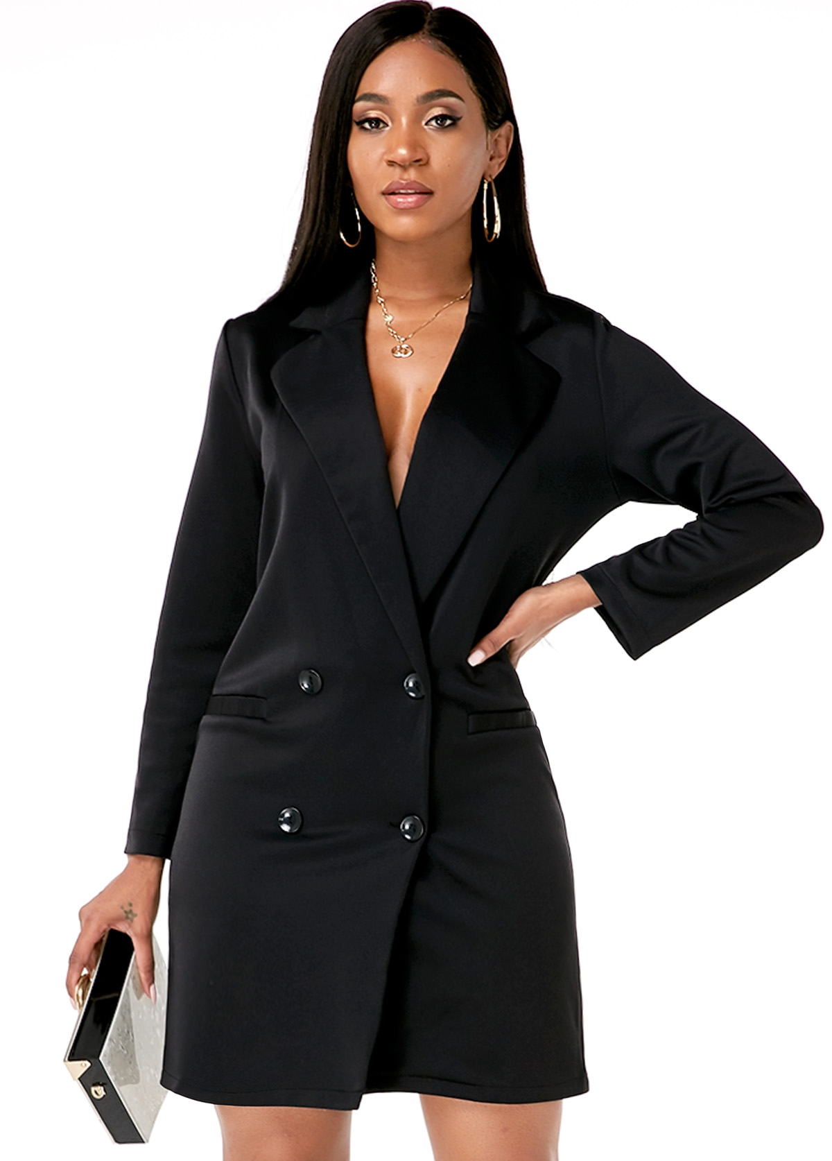 Long Sleeve Double Breasted Notch Collar Dress